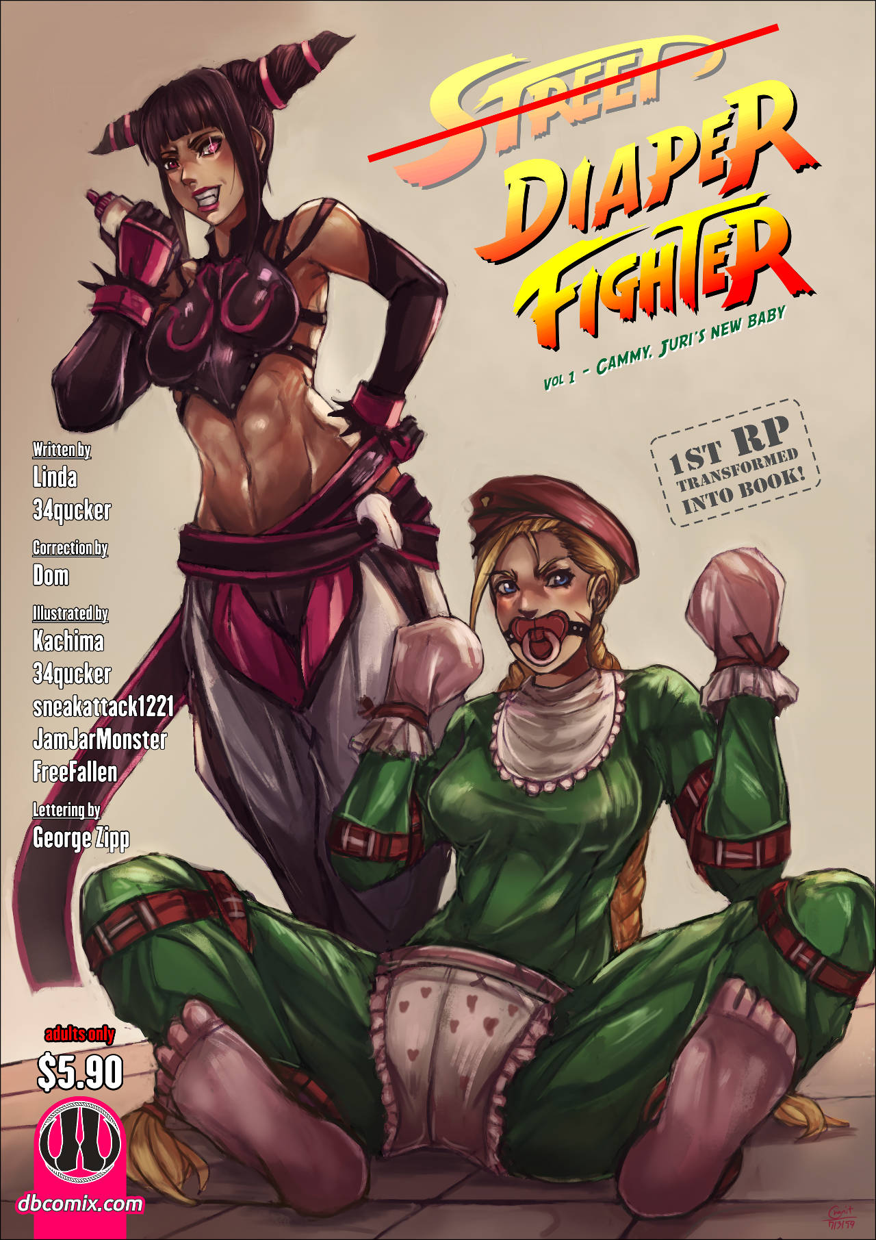 Street fighter Cammy White captured and humiliated by Juri Han. She is transformed into adult baby diaper slave